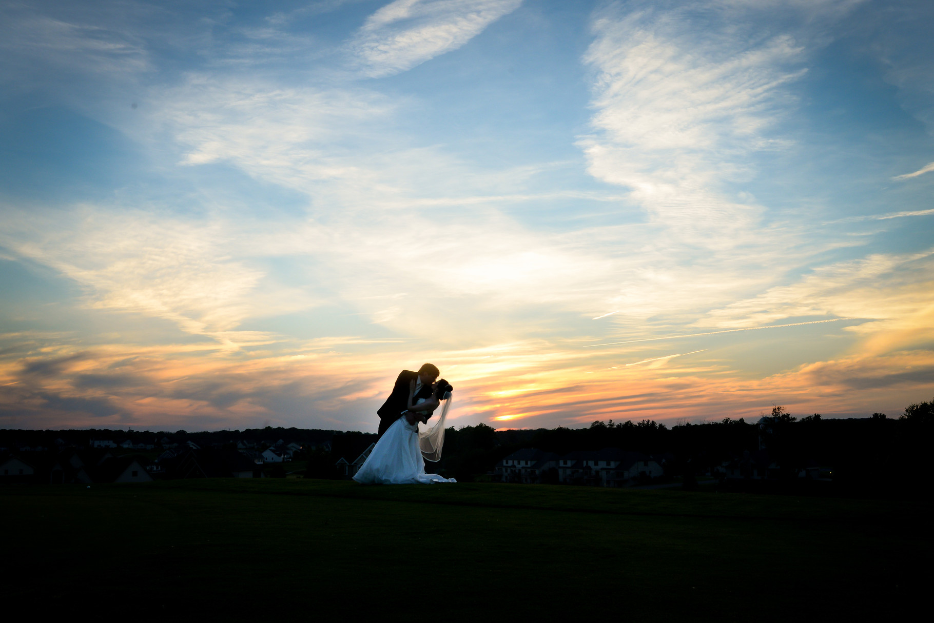 Mollie and Dan's sunset portrait. Wedding portrait in Poland, Ohio