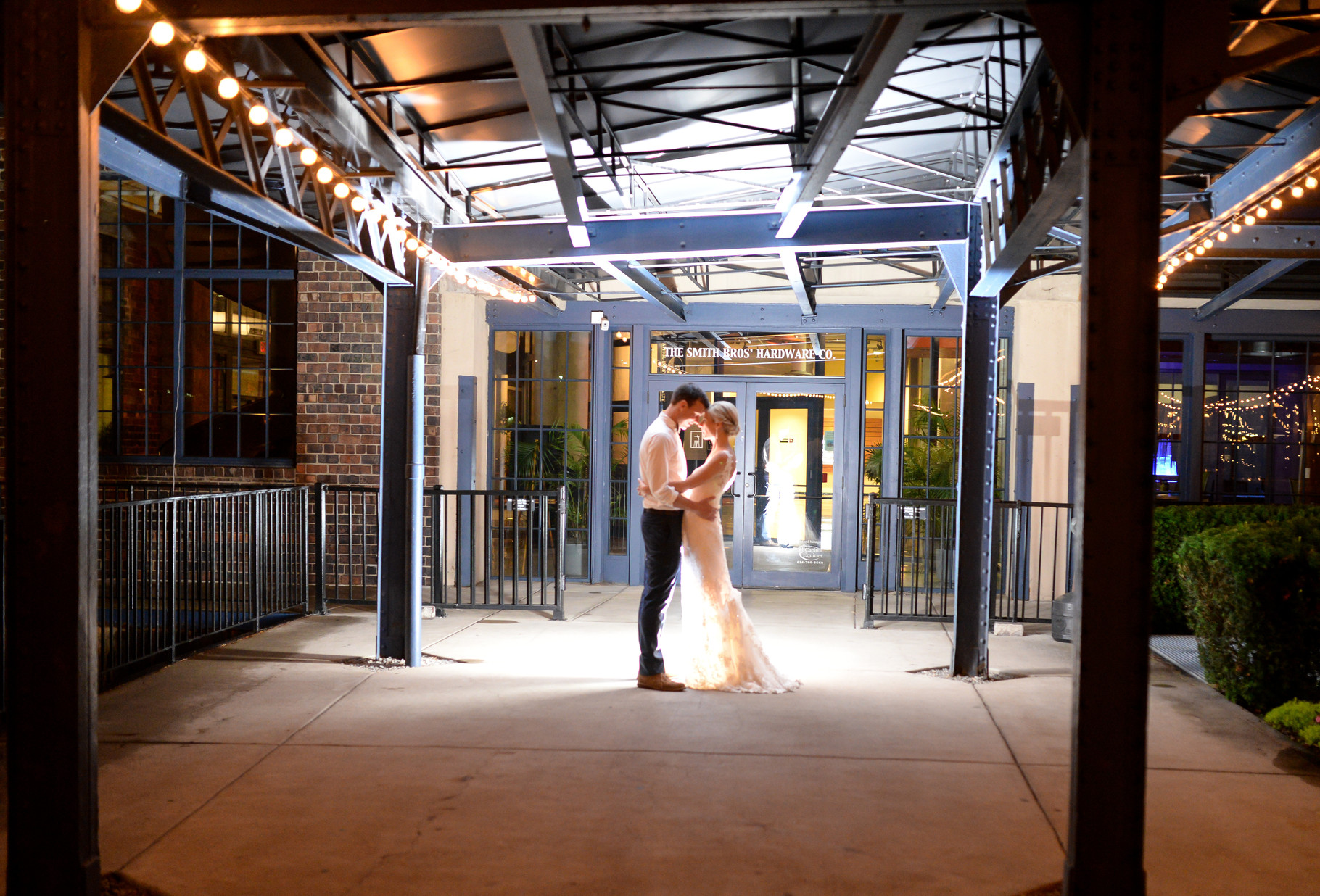 Shannon and Jon's wedding held at Dock580 in Columbus, Ohio. Night lighting portrait
