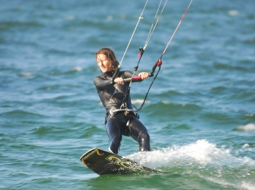 Sandra kiting in Tarifa