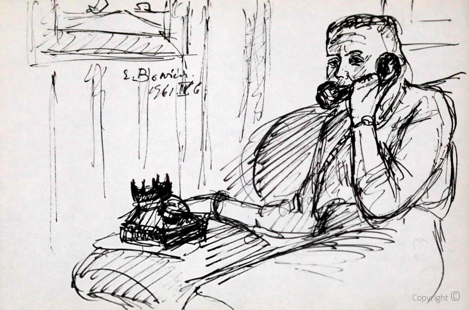 Erwin Bowien (1899-1972) - Erna Heinen-Steinhoff beim Telefonieren
