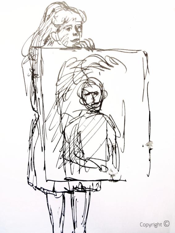 Bettina Heinen-Ayech (1937-2020) - Bettina beim Bilderzeigen im Juni 1962, Zeichnung von Erwin Bowien (1899-1972)