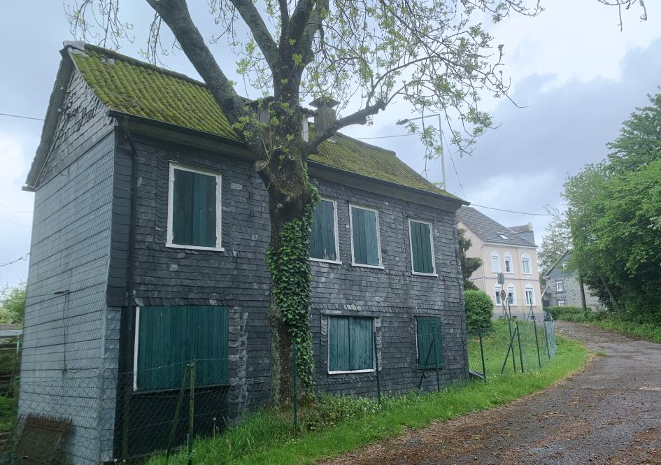 """Die verschieferte Seite des sog. """"Roten Hause"""", Zustand 2019"""