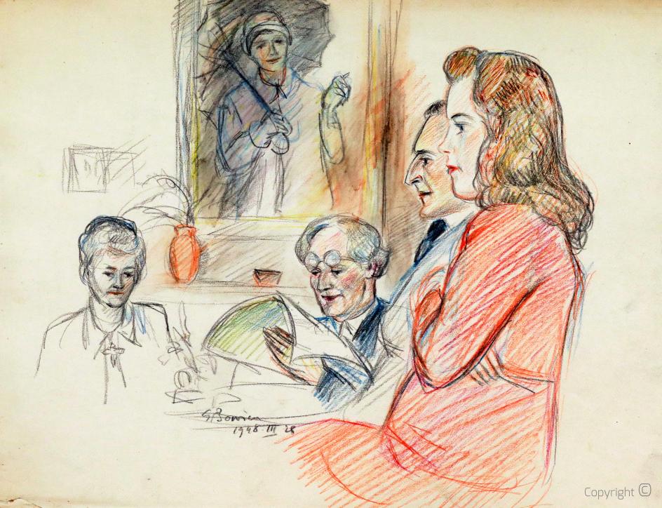 """Erwin Bowien (1899-1972) – Hanns Heinen liest im """"Salon"""" des schwarzen Hauses aus seinen Werken vor, 1948"""