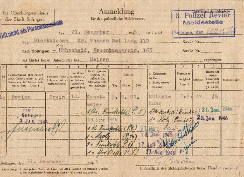 Meldebescheinigung der Stadt Solingen für den Kunstmaler Erwin Bowien nach seinem Einzug ins Haus Heinen im Solinger Stadtteil Höhscheid am 21. Dezember 1945