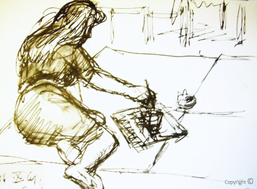Bettina Heinen-Ayech (1937-2020) beim Arbeiten in Atelier, ca. 1960
