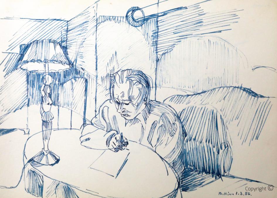 """Bettina Heinen-Ayech (1937-2029): Hanns Heinen beim Dichten im Kleinen Salon des """"Schwarzen Hauses"""", 1956"""