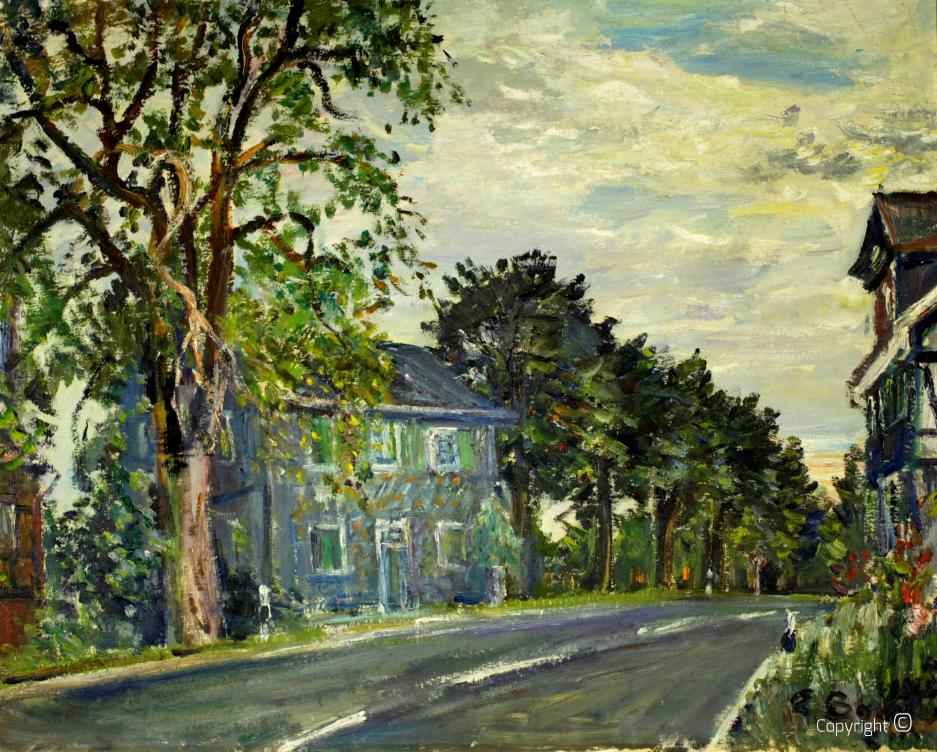 """""""Schwarze Haus"""" in Solingen, Gemälde von Erwin Bowien, ca. 1965"""