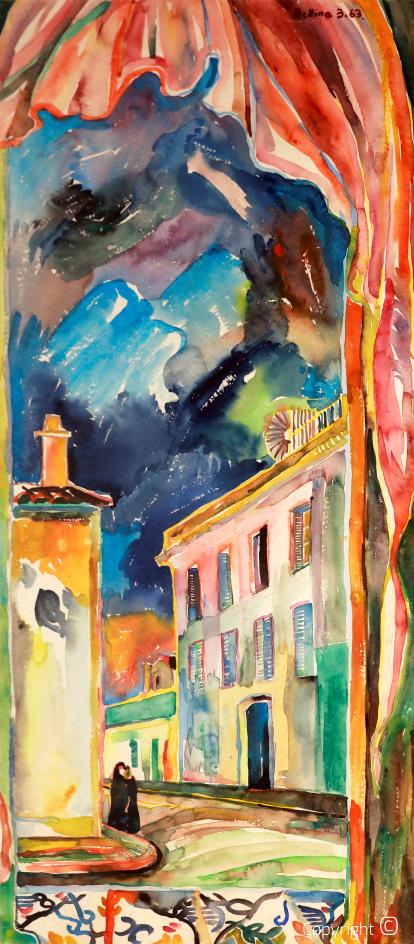 Bettina Heinen-Ayech (1937-2020): Ansicht der Rue Jugurtha in Guelma, 1963