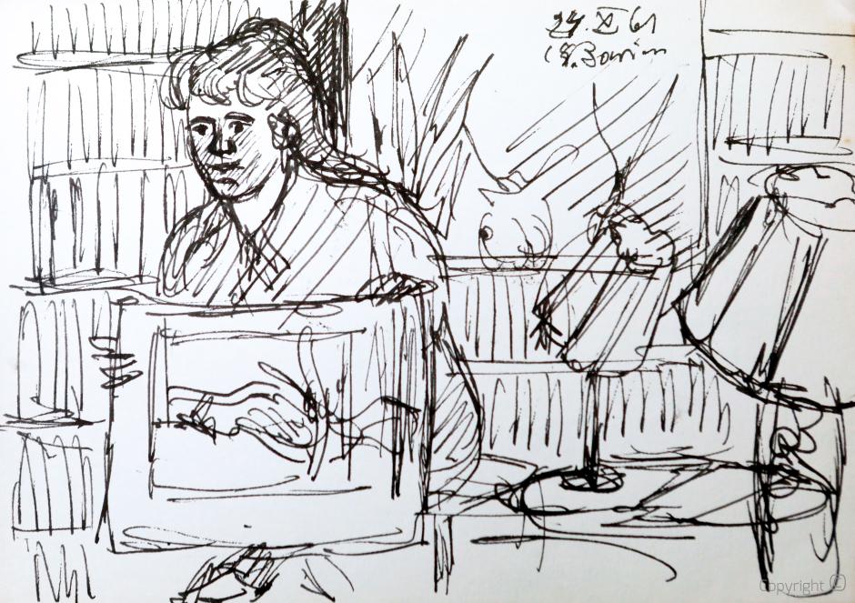Erwin Bowien (1899-1972) – Bettina Heinen-Ayech beim Bilderzeigen im Hause Heinen, 1961