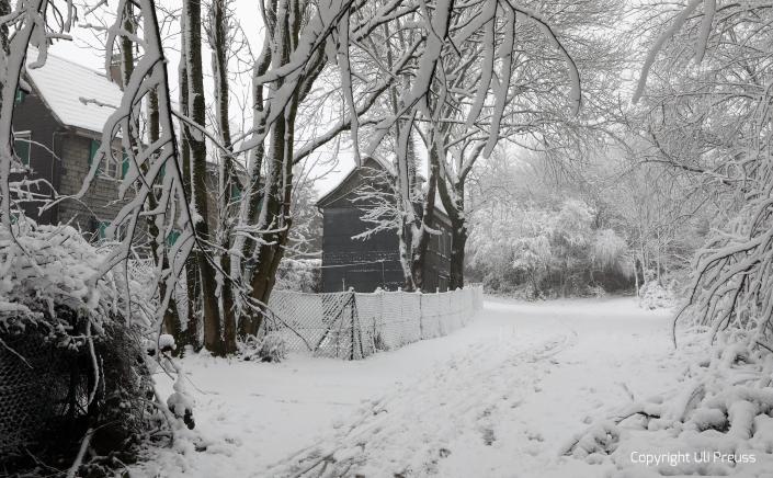 Die Hofseite des Schwarzen Hauses bei Schnee, Zustand Februar 2021