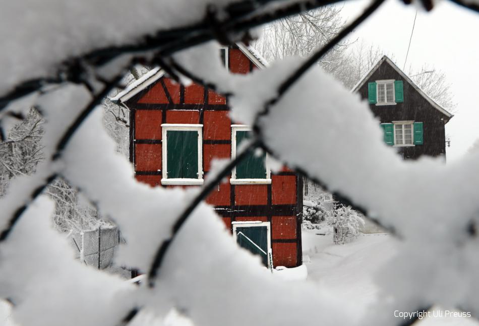 Die Gebäude der Künstlerkolonie im Winter, Zustand Februar 2021