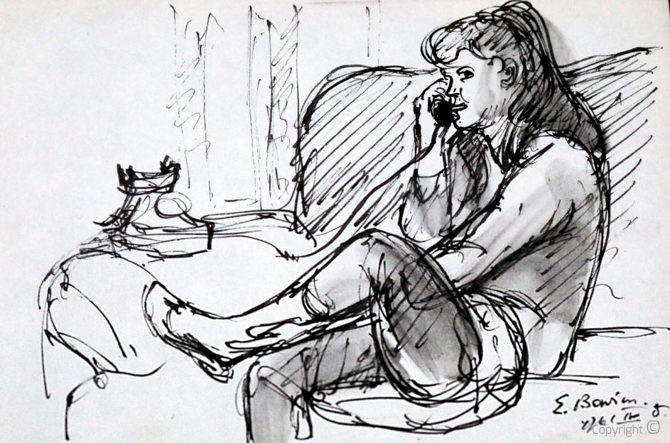 Erwin Bowien (1899-1972) – Bettina Heinen-Ayech beim Telefonieren, 1961