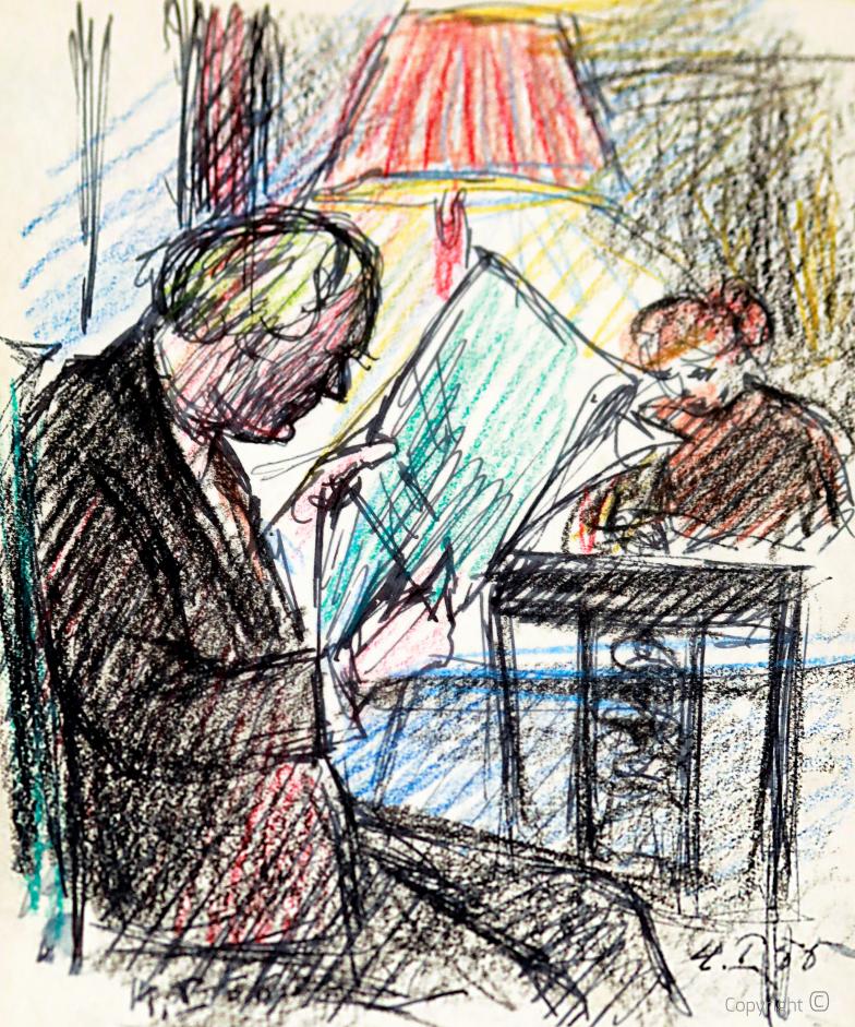 Erwin Bowien (1899-1972) - Hanns Heinen beim Zeitungslesen und Bettina Heinen-Ayech beim Zeichnen, 1958