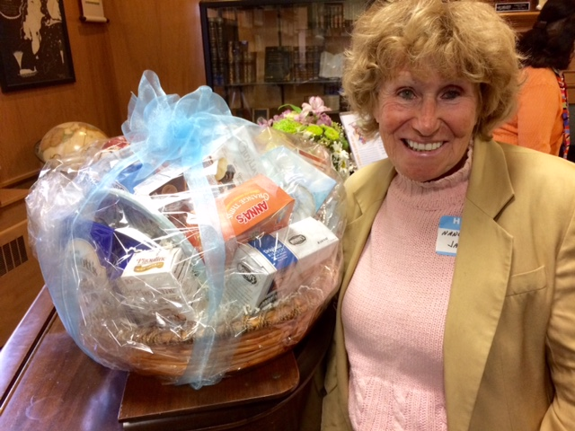 Nancy Jarvis winner of cookie basket drawing.