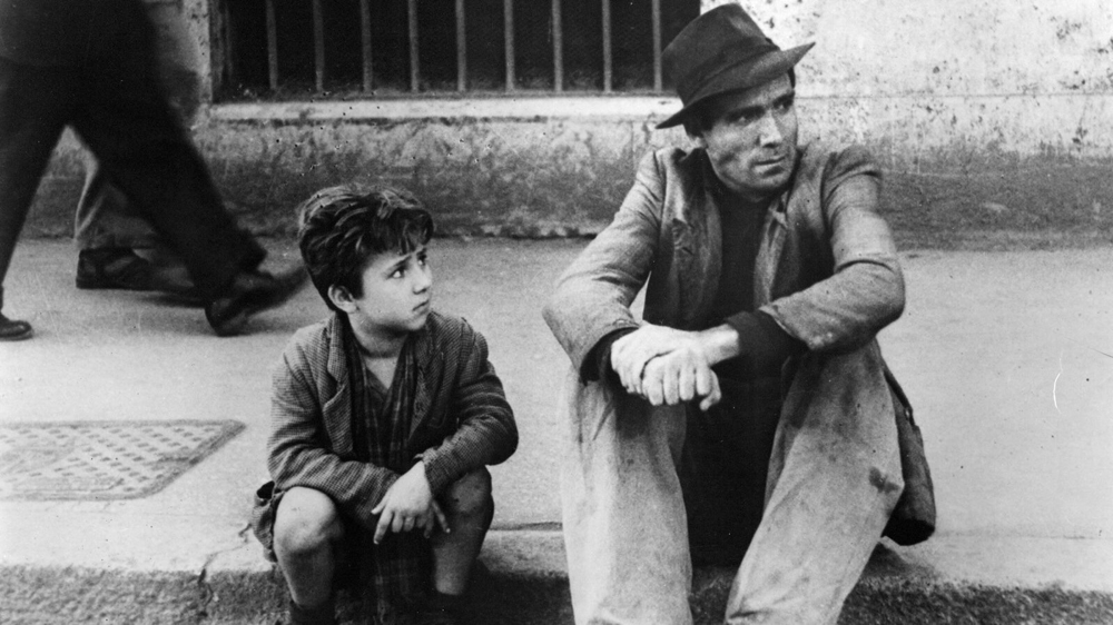 Enzo Staiola & Lamberto Maggiorani in Bicycle Thieves
