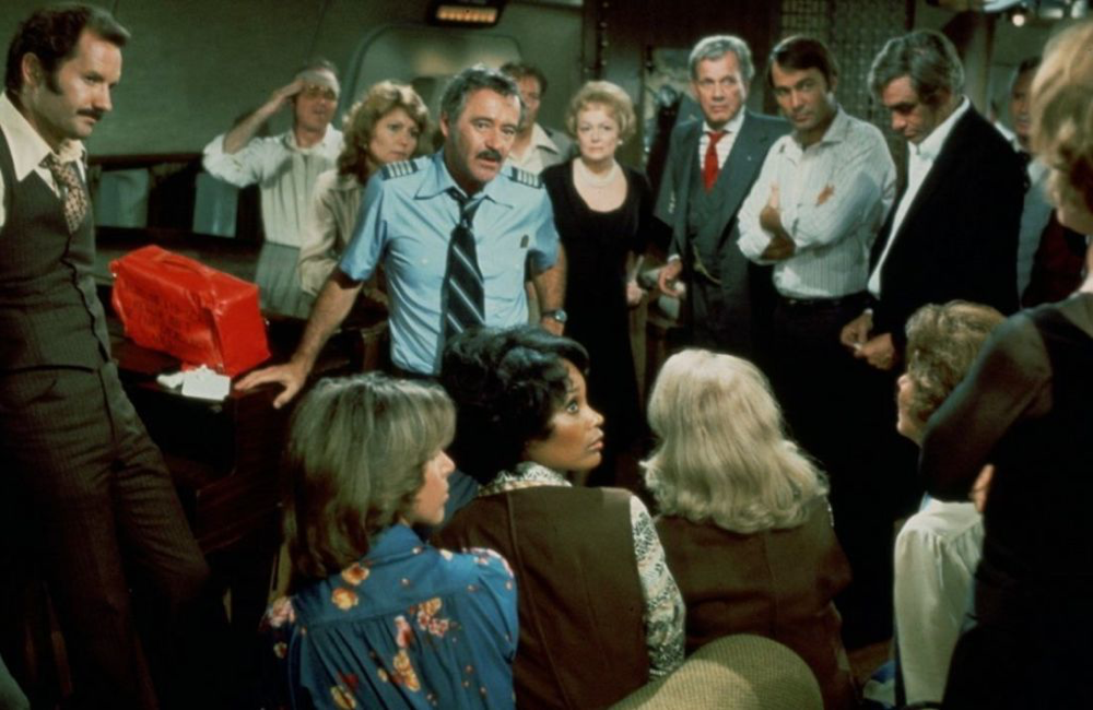 Jack Lemmon & cast in Airport '77
