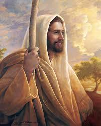 Jesus mit einem Stab.