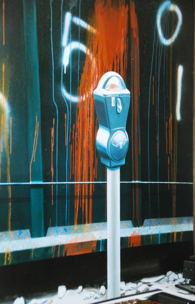 Parkometer, 1981, Öl/LW, 120 x 160 cm, Sammlung Albert Troost