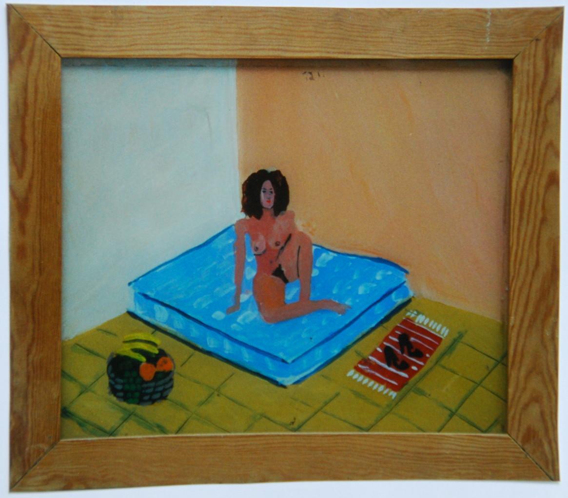 Akt auf Matraze, 1983, Hinterglasmalerei, 33 x 44, Privatsammlung