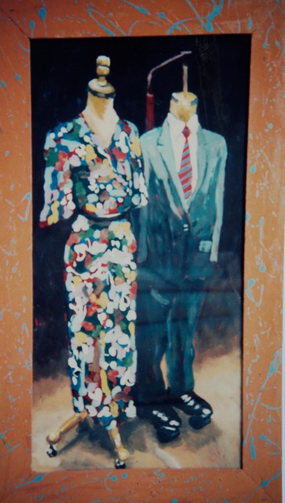 Kleiderpuppen, 1983, Hinterglasmalerei, 60 x 100, Sammlung Albert Troost