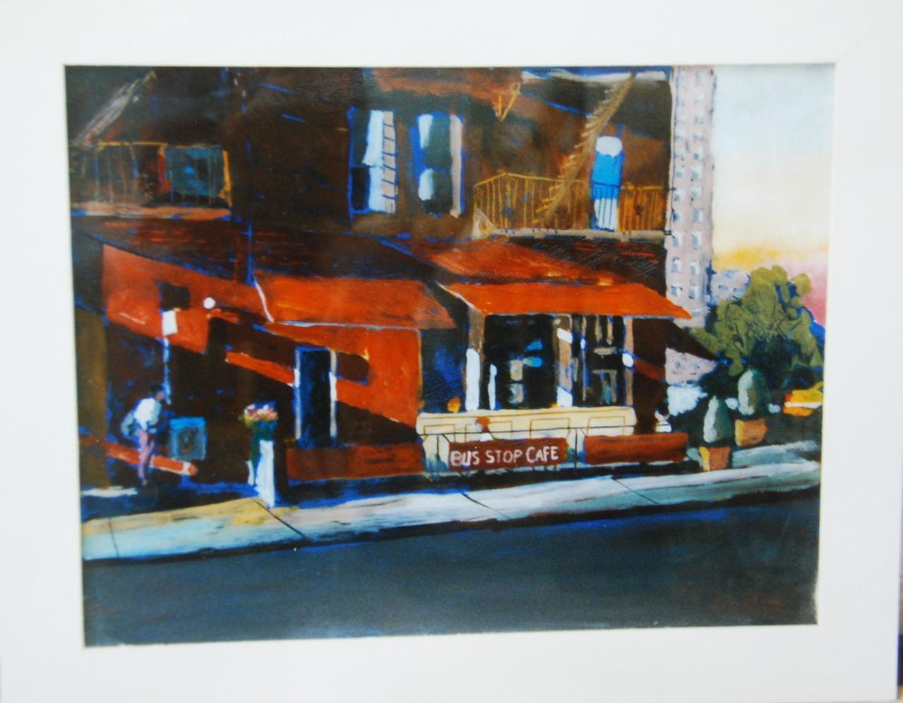 Bus Stop Cafe, 1998,Hinterglasmalerei, Privatsammlung