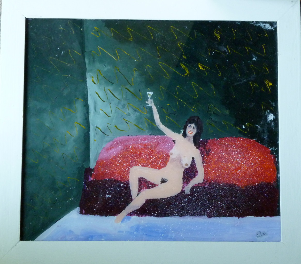 Akt, 1981, Hinterglasmalerei, 45 x 55 Privatsammlung