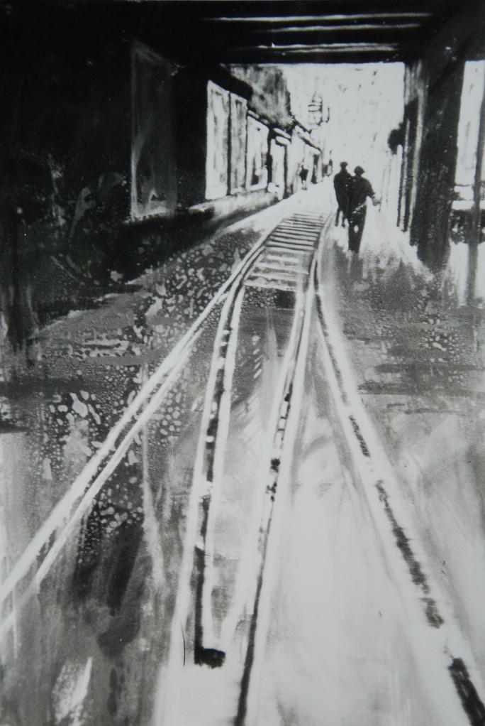 Savignyplatz Schiene, 1987, 120 x 160, Land NRW