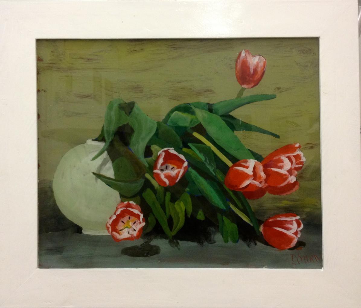 Tulpen 2012, 70 x 45, Hinterglasmalerei, Privatsammlung
