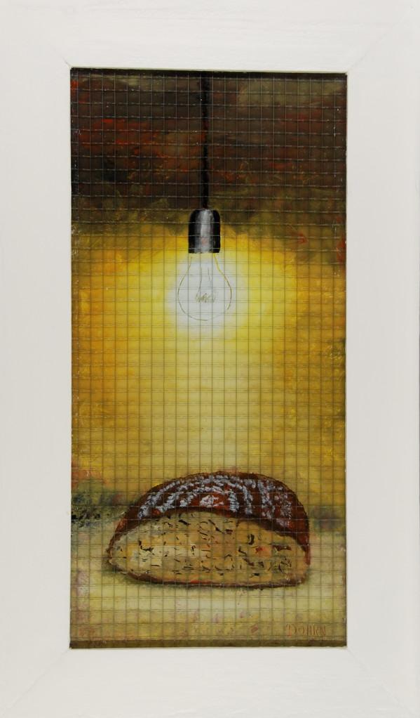 Brot, 2007, Hinterglasmalerei auf Industrieglas, 42 x74 cm, Privatsammlung
