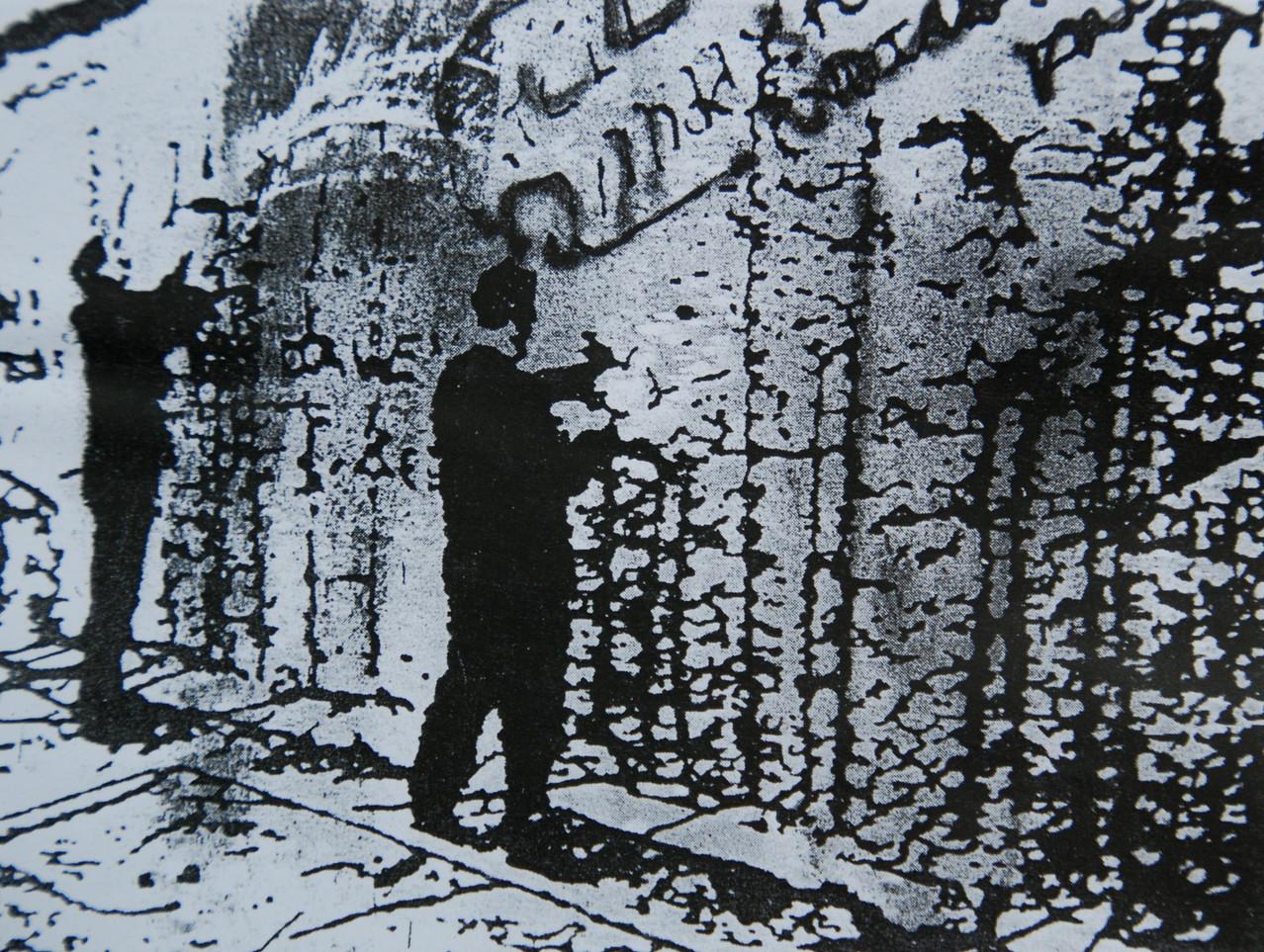 Mauerspechte, 1991, Mischtechnik auf LW, verk. Große Münchener Kunstausstellung