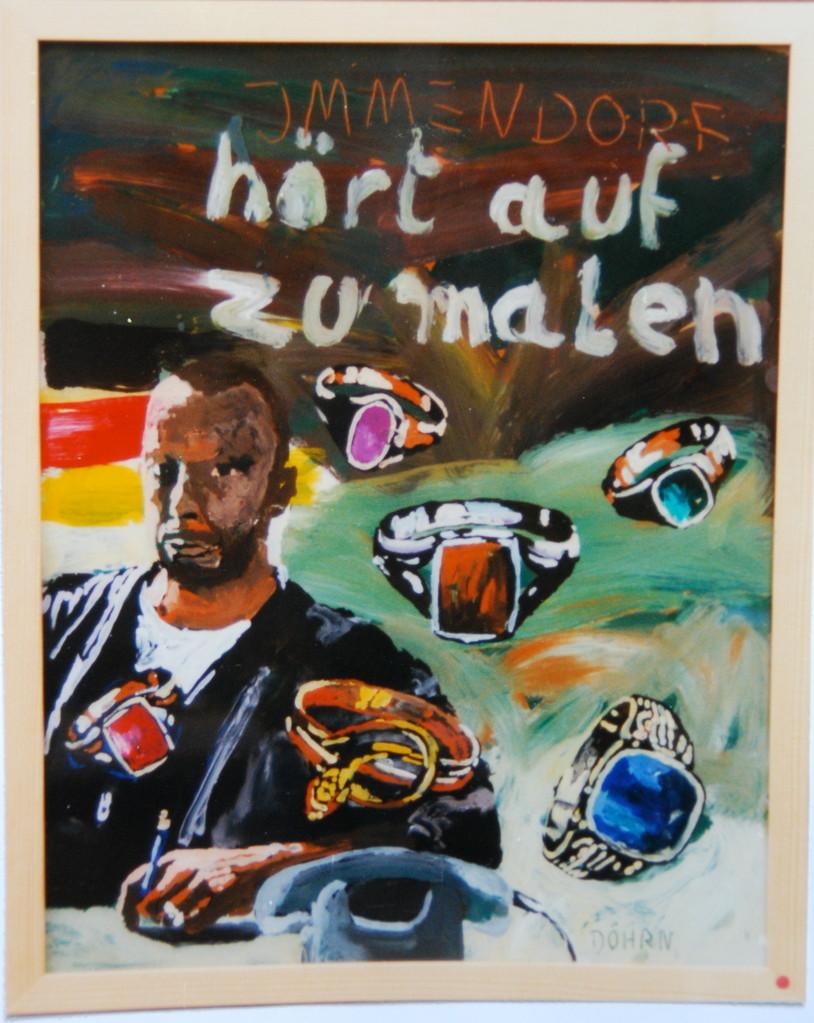 """Immendorf, 1994, Hinterglasmalerei, ca. 40 x 50 cm, ais der Serie """"Freunde und Bekannte"""""""