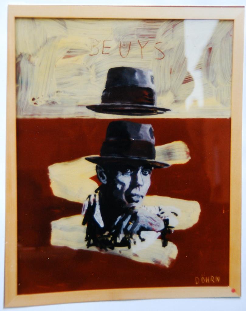 """Beuys, 1994, Hinterglasmalerei, ca. 40 x 50 cm, aus der Serie """"Freunde und Bekannte"""""""