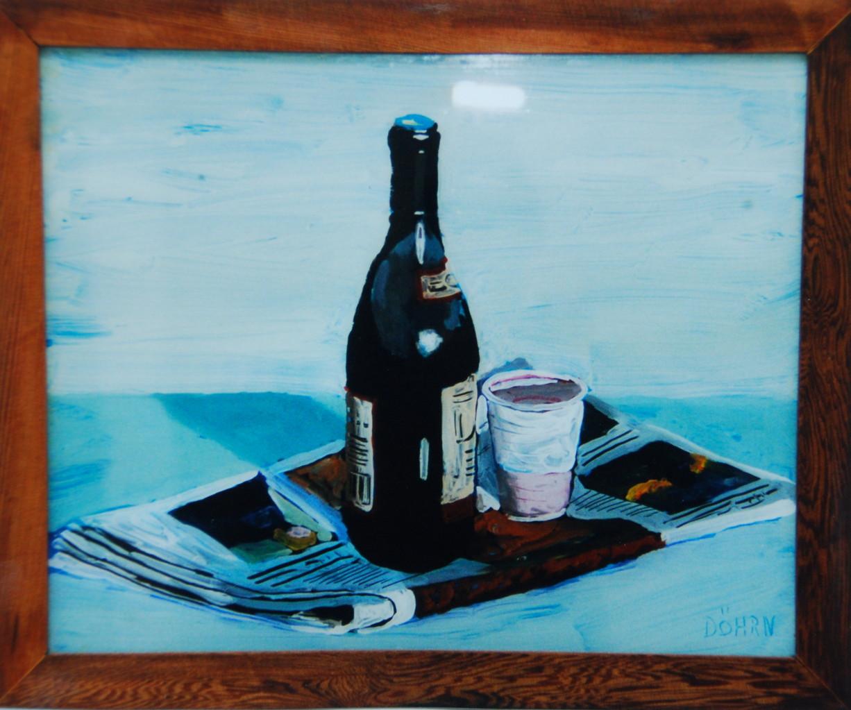 Vin Rouge, 1998, 55 x 40, Hinterglasmalerei, Privatsammlung