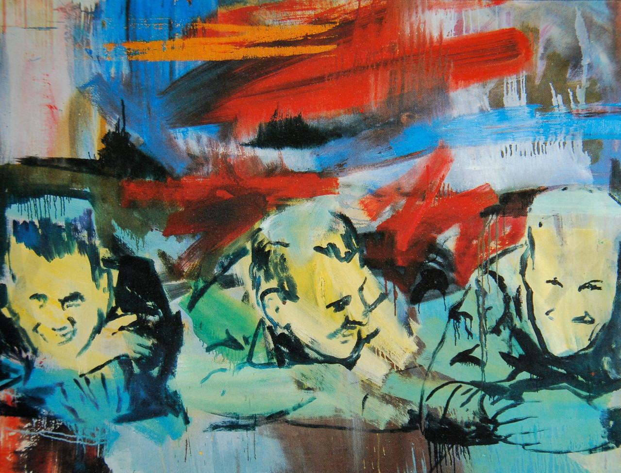 Dreimannquer, 1988, 160 x 120, Privatsammlung