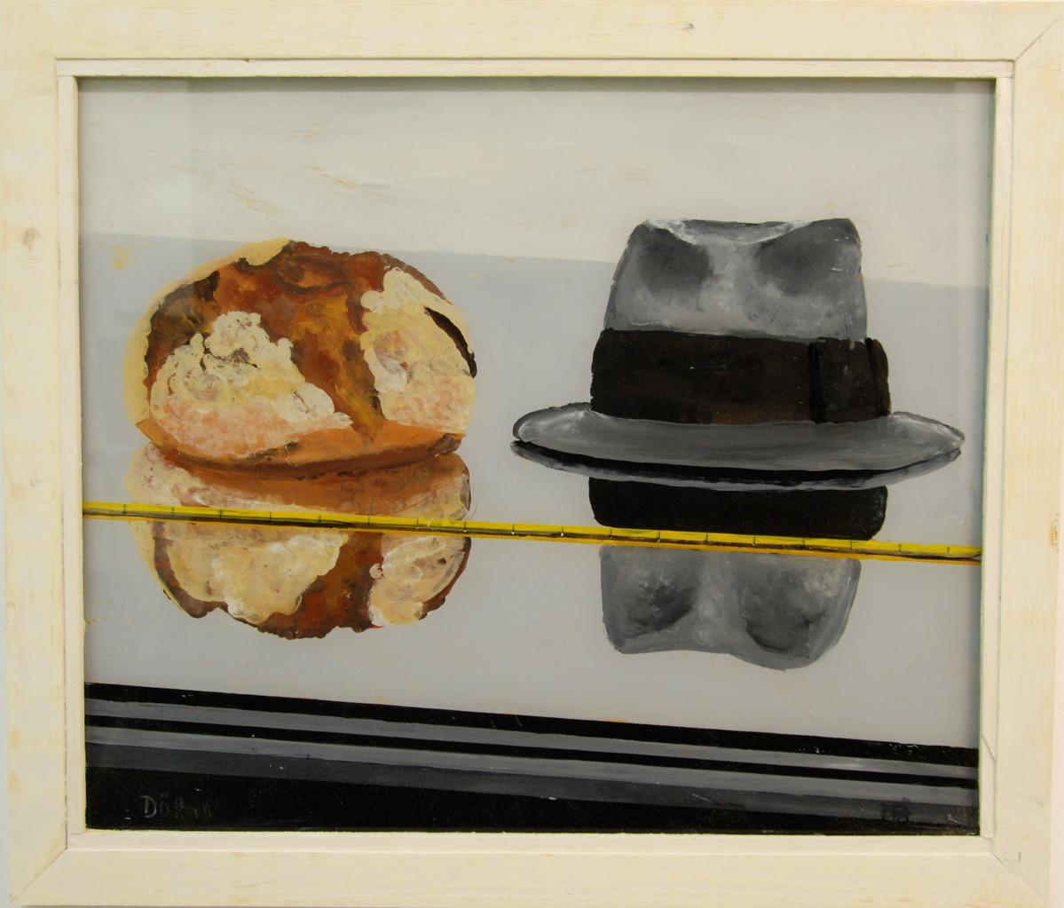 Brot & Hut, 2001, 65 x 44, Hinterglasmalerei, Privatsammlung