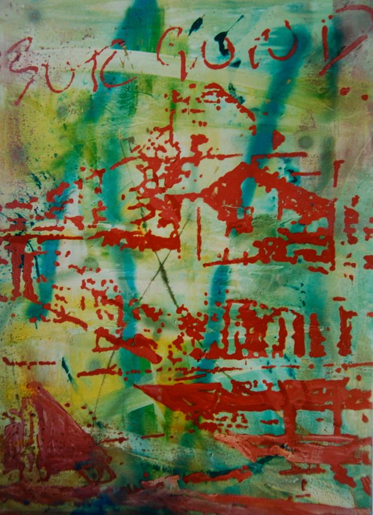 O.T. 1994, Mischtechnik auf Leinwand, 120 x 160 cm, Privatsammlung