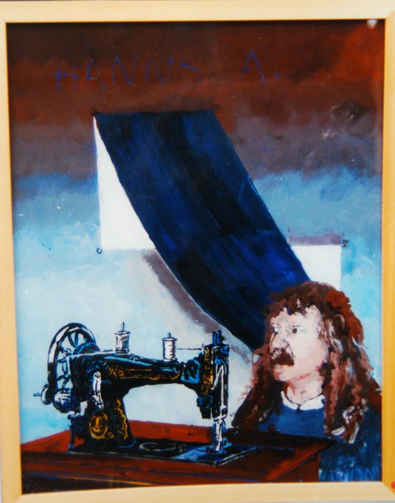 """Hanns A, 1994, Hinterglasmalerei, ca 40 x 50 cm, aus der Serie """"Freunde und Bekannte"""""""