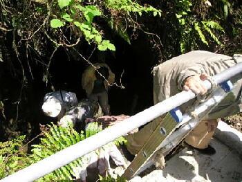 今年、鍾乳石が発見された洞窟の見学