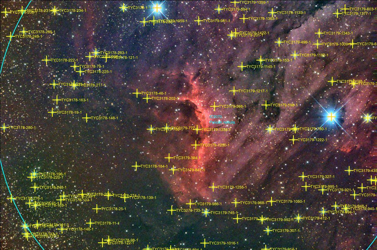 IC 5070 Pelikannebel mit Objekt Benennung