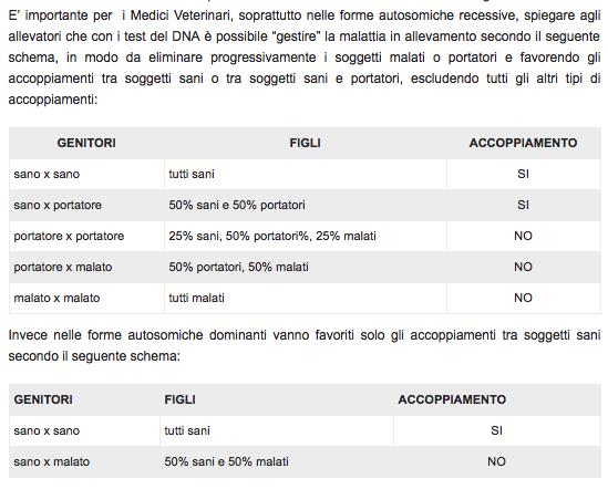 tabella della percentuale di soggetti sani e portatori nelle malattie autosomiche recessive e autosomiche dominanti