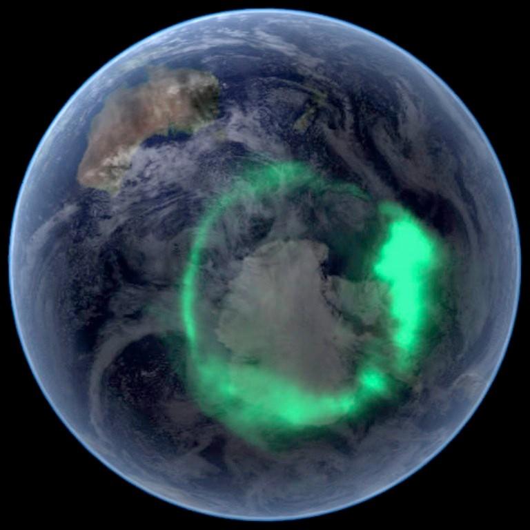 Aurora polar vista em 11/09/2005 pelo satélite IMAGE. Foto da NASA.