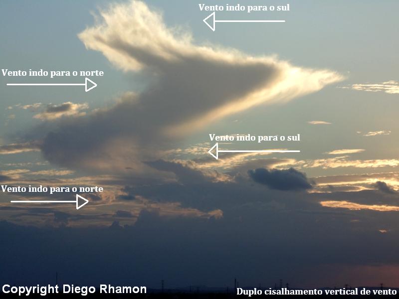 Nuvem Cumulonimbus com duplo cisalhamento de vento, vista em Campina Grande, Paraíba, em 10/12/2014.