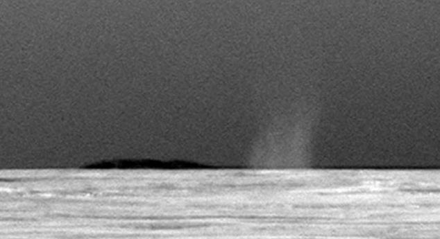 Redemoinho de poeira visto em Marte.