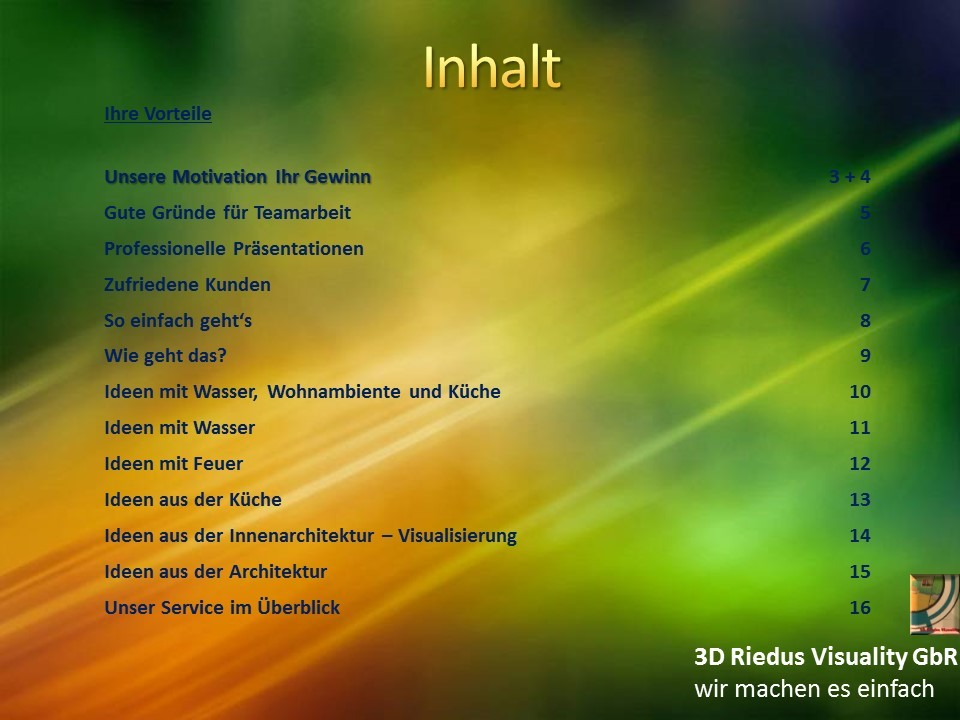 3D Riedus Visuality GbR # 2 Inhalt