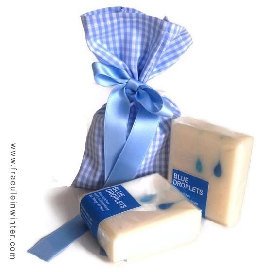 Handgemachter Geschenkbeutel mit Tröpfchen-Seife (aus 11/2015)