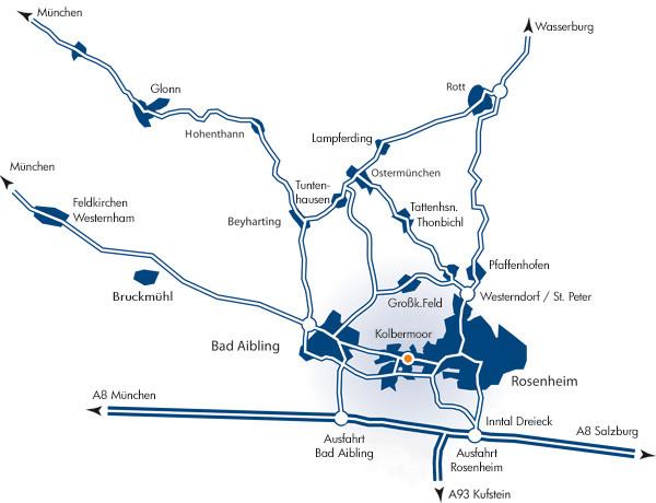 Lageplan von Kolbermoor