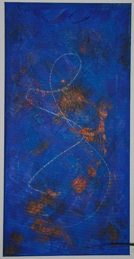 Blaue Serie 2  Acyrl und Seidenpapier und Holzleim auf Leinwand  30 x 60 cm