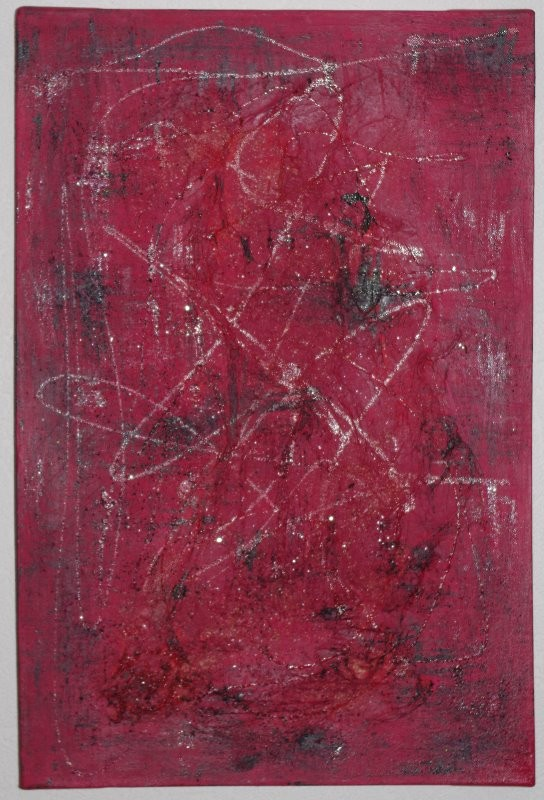 Love Acyrl mit Sand und Seidenpapier auf Leinwand  40 x 60 cm