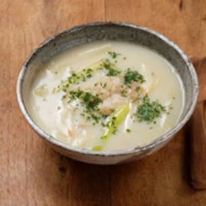 ねぎとほたての豆乳スープ