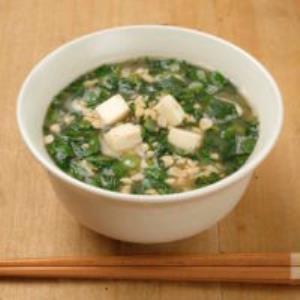 納豆と春菊の味噌汁